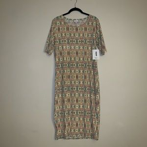 Lularoe Julia style patterned fitted dress size XL